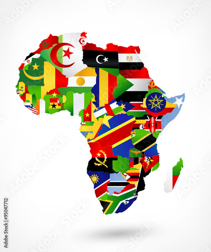 Fotografie, Tablou  Vector map of Africa with flags and location on world map