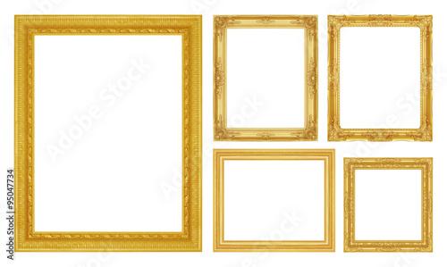 Fototapeta Set golden frame isolated on white background obraz na płótnie