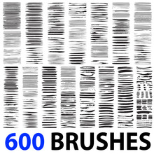 Vector Very Large Collection Or Set Of 600 Artistic Black Paint Brush Strokes