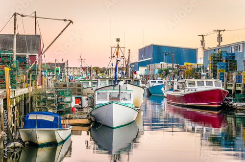 Colourful Fishing Boats in Harbour at Sunset