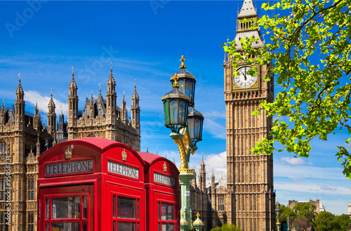Poster London Red British telephone box in front of Big Ben, London