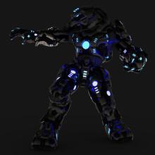 Blue Neon Black Robot Side Att...