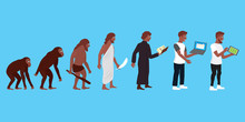 Illustration Of Human And Technic Evolution In Color