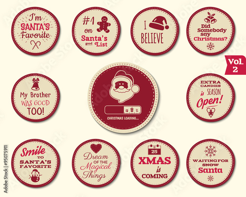 christmas badge and design elements with funny signs quotes for kids new year labels