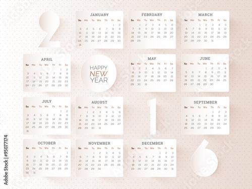Fényképezés  Stylish Yearly 2016 Calendar design.