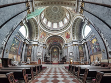 Interior Of Esztergom Basilica. The Primatial Basilica Of The Blessed Virgin Mary Assumed Into Heaven And St Adalbert Is The Seat Of Catholic Church In Hungary And Is The Biggest Building In Country.
