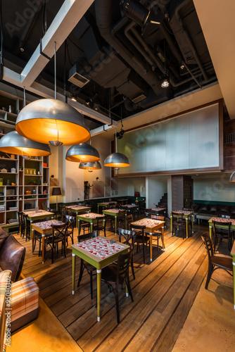 Photo Stands Library Restaurant interior