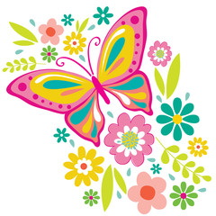 Fototapeta Motyle Spring Flowers and Butterfly Illustration. EPS 10 & HI-RES JPG Included