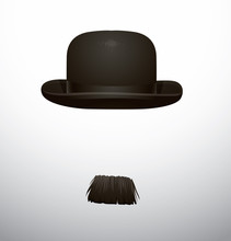 Vector Hat And Mustache. Cartoon Image Of A Black Bowler Hat And Black Mustache On A Light Background.