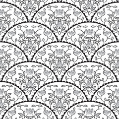 Naklejka Stylized fish scale japan wave seamless pattern. Flower branches swirls in grayscale colors. Fan or peacock tail ornament.