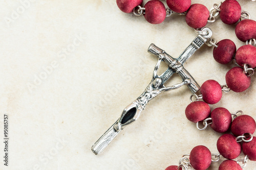 Fototapeta Catholic rosary with copy-space