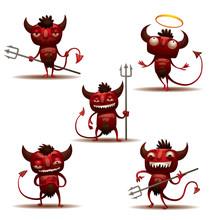 Vector Little Red Devils Set. ...