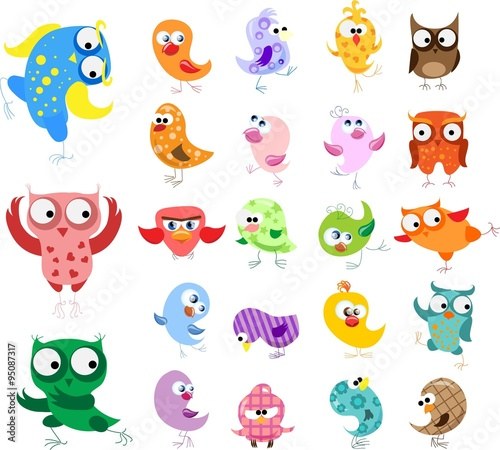 Canvas Prints Creatures Set of vector cartoon birds