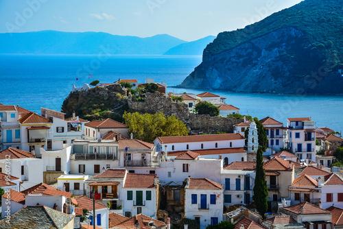 Poster Bleu Ruins of Venetian fortress in Skopelos