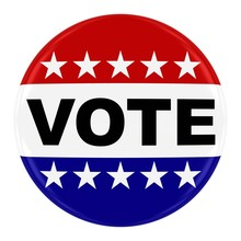 Vote Pin Badge - US Elections Button With Stars Isolated On White