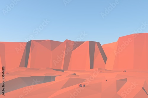 Canyon red rocks landscape 3d render illustration. Nature background with low poly scene