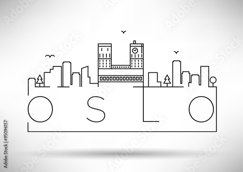 Linear Oslo City Silhouette with Typographic Design Poster