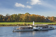Steamship In Elbe River.Old Sh...