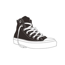 Black And White Modern Casual Sneaker Clipart Vector Icon