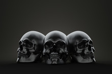 Three Skull On The Block. Still Life Render