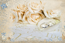 Wedding Roses And Rings In Seashell And Net Mask Frame