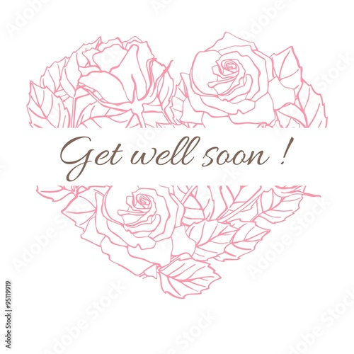 Valokuva  Get well soon. Friendly vector vintage card with flower drawing