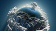 Cloud earth in space