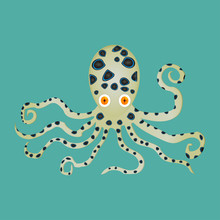 Vector Illustration Of Spotted Octopus