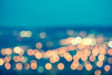 Abstract Blue Circular Bokeh Background, City Lights With Horizo