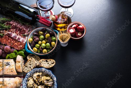spanish tapas , food border background