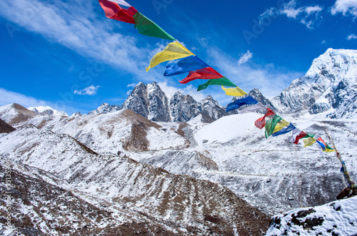 Wall Murals Nepal Buddhist prayer flags in the Himalaya mountains, Nepal