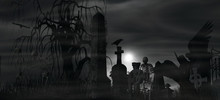 Dark Angel At A Graveyard On A...