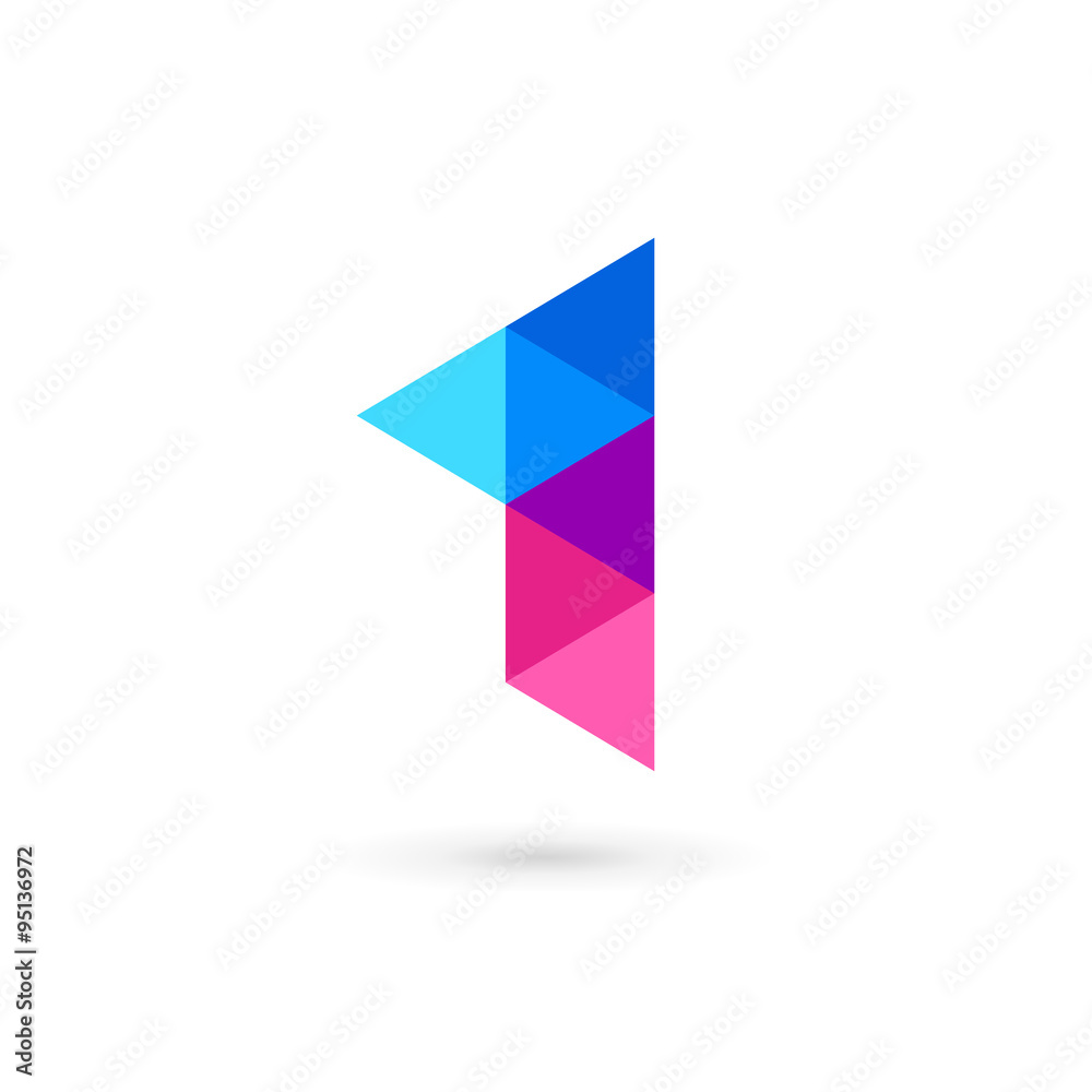 Fototapeta Number one 1 flag logo icon design template elements