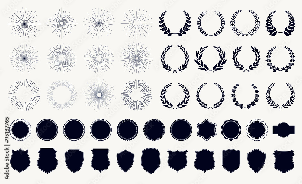 Fototapeta Vector set sunburst laurel wreaths and shields