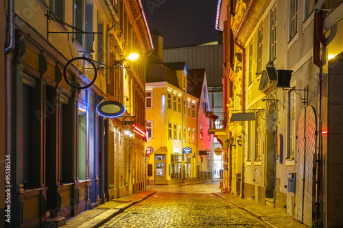 Night street in the Old Town of Riga, Latvia - 95138536