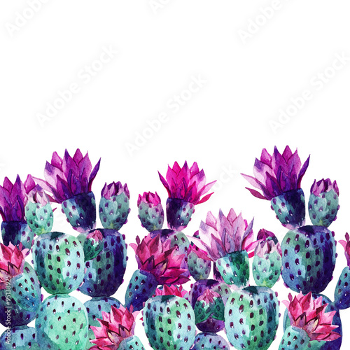 Poster de jardin Aquarelle la Nature Watercolor cactus