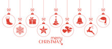 Monochrome Red Christmas Baubles, Christmas Ornaments