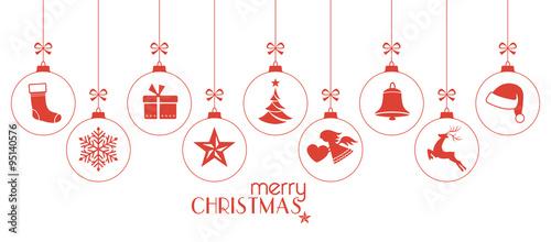 Fotografia, Obraz Monochrome red Christmas baubles, Christmas ornaments