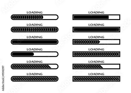 Fotografía  Set of Loading, uploading, downloading status bar icons