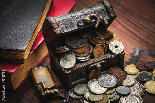 Photo  old coins and old object