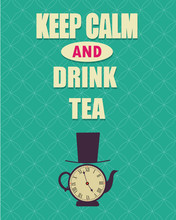 Tea Time In London Blue Poster