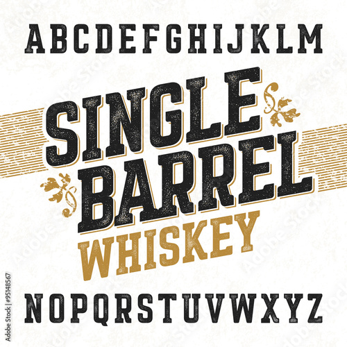 Single barrel whiskey label font with sample design. Ideal for any design in vintage style. Fototapete