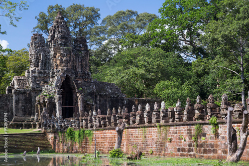 Photo  Bridge and South Gate of Angkor Thom,   Cambodia