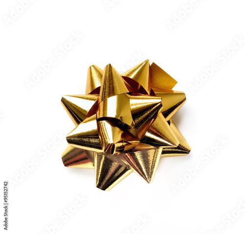 Fotografie, Obraz  étoile en papier doré isolé sur fond blanc