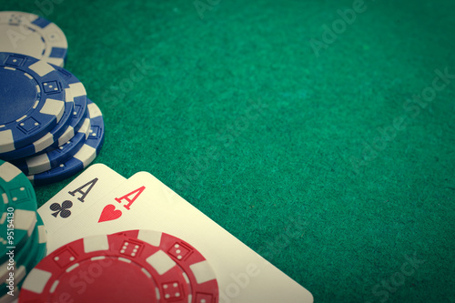 фотография  poker two aces, place for text