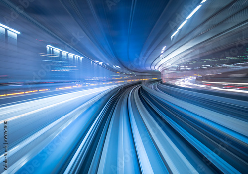 Fototapeta Motion blur of train moving inside tunnel in Tokyo, Japan obraz
