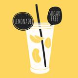 Doodle glass with lemonade. Kitchen illustration - 95159969