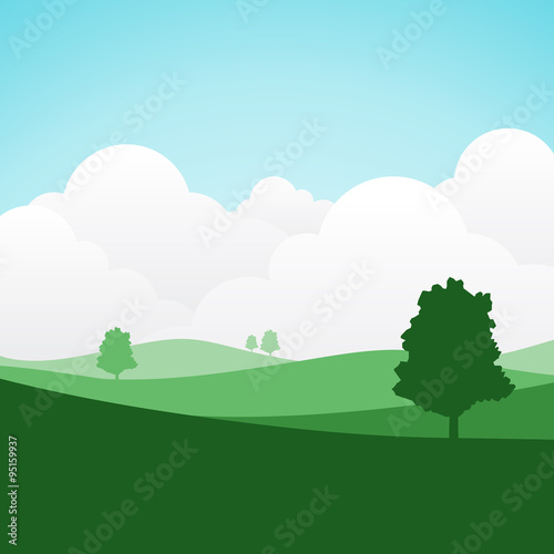 colorful silhouette landscape for graphic design and website