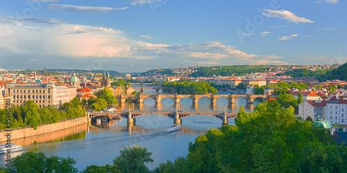 Fototapeta Prague at sunset time obraz na płótnie