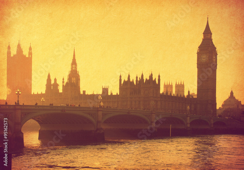 Foto op Canvas Londen Buildings of Parliament with Big Ben tower. London, UK. Added paper texture.